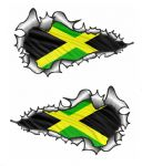 SMALL Long Pair Ripped Metal Design With Jamaica Jamaican Flag Vinyl Car Sticker 73x41mm